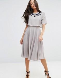 Декорированное приталенное платье миди с кроп-топом ASOS - Серый