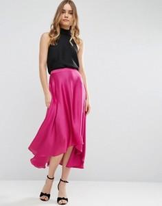 Атласная юбка миди с разрезами ASOS - Розовый