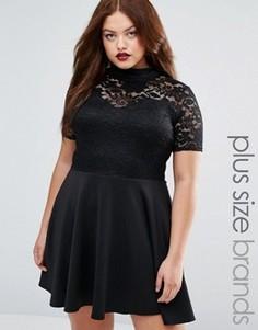 Платье с кружевным верхом Praslin Plus - Черный