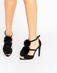 Сандалии на каблуке с помпонами Public Desire Keir - Черный