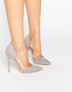 Серые туфли-лодочки с прозрачными вставками Public Desire Keeley - Серый