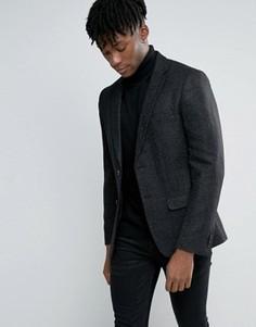 Черный шерстяной блейзер в крапинку New Look - Черный
