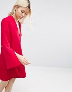 Платье мини с V-образным вырезом ASOS WHITE - Красный