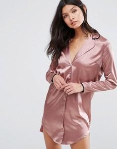 Платье-рубашка в пижамном стиле Missguided - Розовый