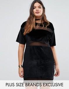 Бархатное платье-футболка с сетчатыми вставками Missguided Plus - Черный