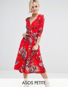 Креповое платье миди с цветочным принтом ASOS PETITE - Мульти