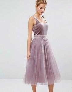 Тюлевое платье миди с бархатным лифом Little Mistress - Розовый