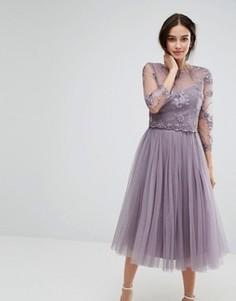 Кружевное платье миди с вышивкой и юбкой из тюля Little Mistress - Черный