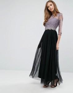 Платье макси с кружевом и отделкой пайетками Little Mistress - Розовый