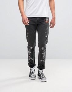 Черные выбеленные джинсы узкого кроя с вышитыми нашивками ASOS - Черный