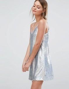 Платье мини с пайетками New Look - Серебряный