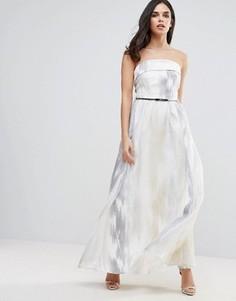 Платье макси из органзы с вышивкой Little Mistress - Серебряный