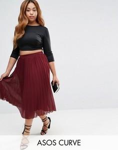 Плиссированная юбка миди ASOS CURVE - Красный