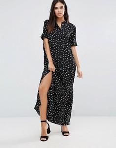 Платье-рубашка макси с короткими рукавами Vila - Черный