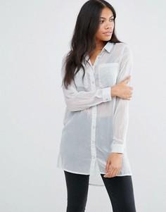 Свободная рубашка с карманом Vila - Серебряный
