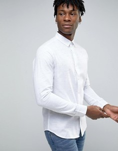 Рубашка слим в крапинку с закругленным воротником Troy - Белый