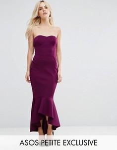 Платье-бандо с баской ASOS PETITE - Фиолетовый