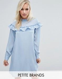 Свободное платье с высоким воротом и оборками Vero Moda Petite - Синий