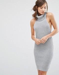 Платье-джемпер без рукавов с высоким отворачивающимся воротом Parallel Lines - Серый
