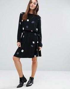 Комбинируемая юбка с принтом Selected Femme - Черный