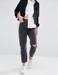 Джинсы в винтажном стиле с рваными коленями New Look - Черный
