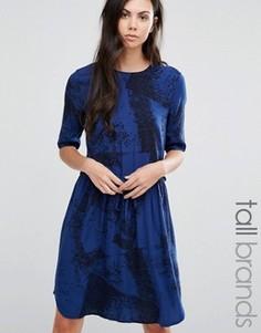 Платье с мраморным принтом Y.A.S Tall Elisa - Синий