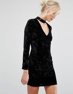 Бархатное облегающее платье с отделкой на горловине Parisian - Черный