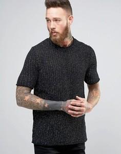 Фактурная трикотажная футболка из пряжи металлик ASOS - Черный