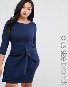 Платье-футляр с оборками Goddiva Plus - Темно-синий