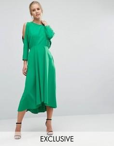 Платье с длинными рукавами и вырезами на плечах Closet - Зеленый