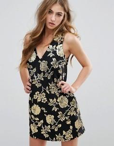 Цельнокройное платье мини с цветочным узором Missguided - Золотой