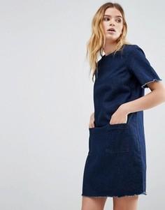Джинсовое платье с необработанными краями Native Youth - Синий