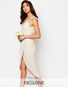 Платье миди с запахом и отделкой TFNC WEDDING - Серый