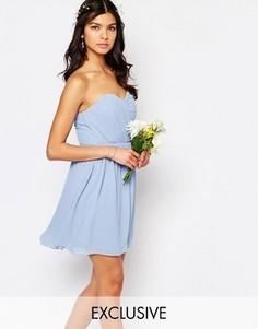 Шифоновое платье‑бандо мини TFNC WEDDING - Синий