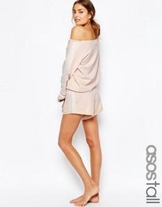 Трикотажные шорты для дома с кружевной отделкой ASOS TALL - Розовый