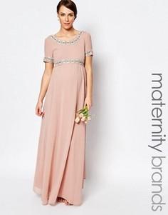 Платье макси для беременных с пышной юбкой и отделкой Maya Maternity - Розовый
