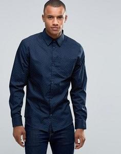 Рубашка с мелким принтом D-Struct - Темно-синий