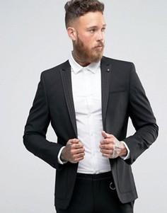 Супероблегающий пиджак с лацканами в горошек ASOS - Черный