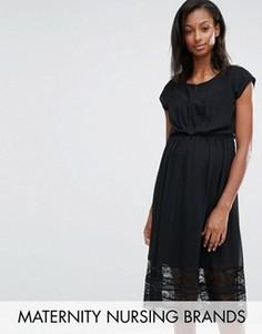 Платье для беременных и кормящих с кружевной отделкой Mamalicious Alexandra - Черный Mama.Licious