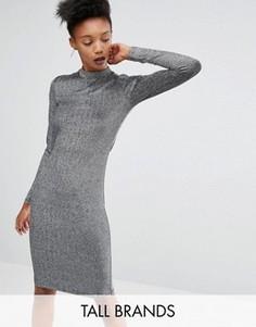 Облегающее платье металлик с длинными рукавами Y.A.S Tall Lisa - Серый