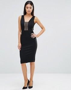 Платье миди со вставкой в полоску Rare - Черный