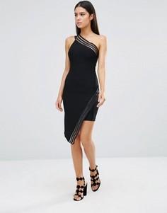 Асимметричное платье мини с полосками из сеточки Rare - Черный