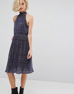 Плиссированное платье миди с принтом J.O.A - Мульти J.O.A.