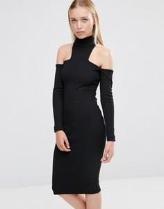Платье миди с открытыми плечами и высоким воротом City Goddess - Черный