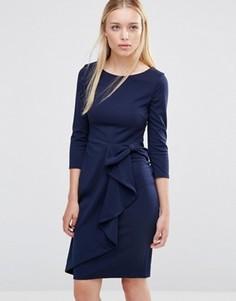 Платье миди с рукавом 3/4 и каскадной баской City Goddess - Темно-синий