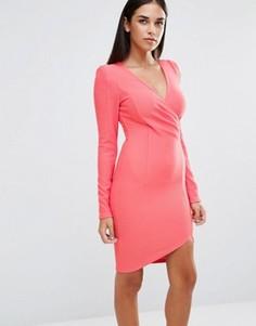 Платье с длинными рукавами и запахом спереди AX Paris - Розовый