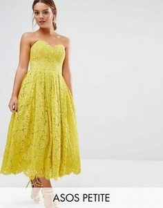 Кружевное платье‑бандо миди с вырезом сердечком ASOS PETITE - Желтый
