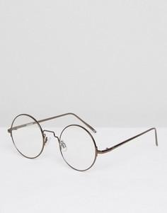 Круглые очки с металлической оправой и прозрачными стеклами ASOS - Коричневый