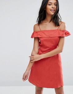 Льняной сарафан с открытыми плечами ASOS - Красный