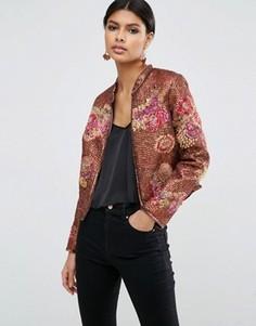 Куртка с цветочным принтом и отделкой пайетками ASOS Premium - Мульти